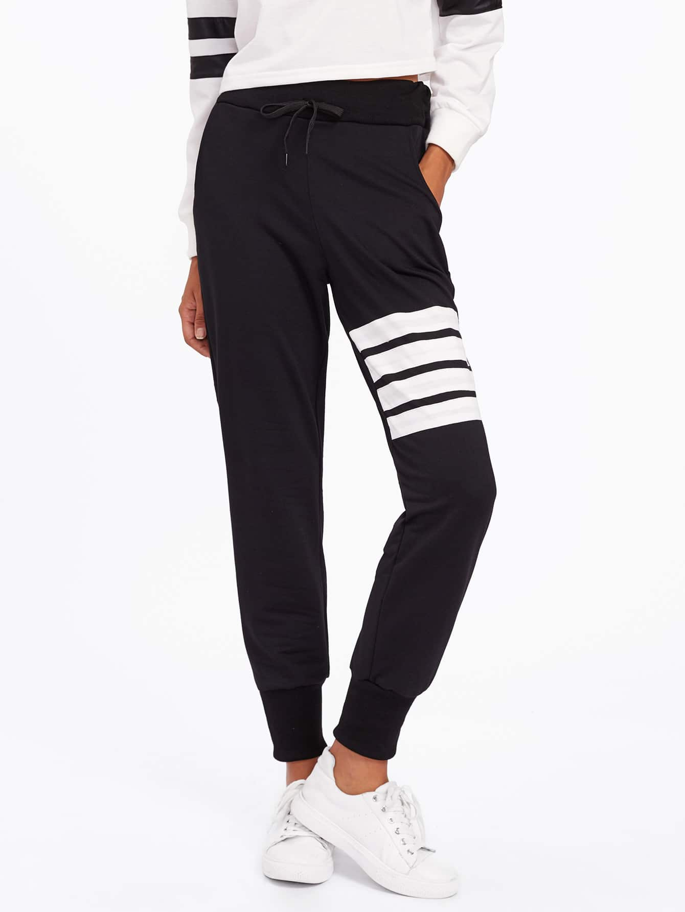 Image of Contrast Striped Drawstring Waist Pants