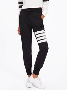 Contrast Striped Drawstring Waist Pants
