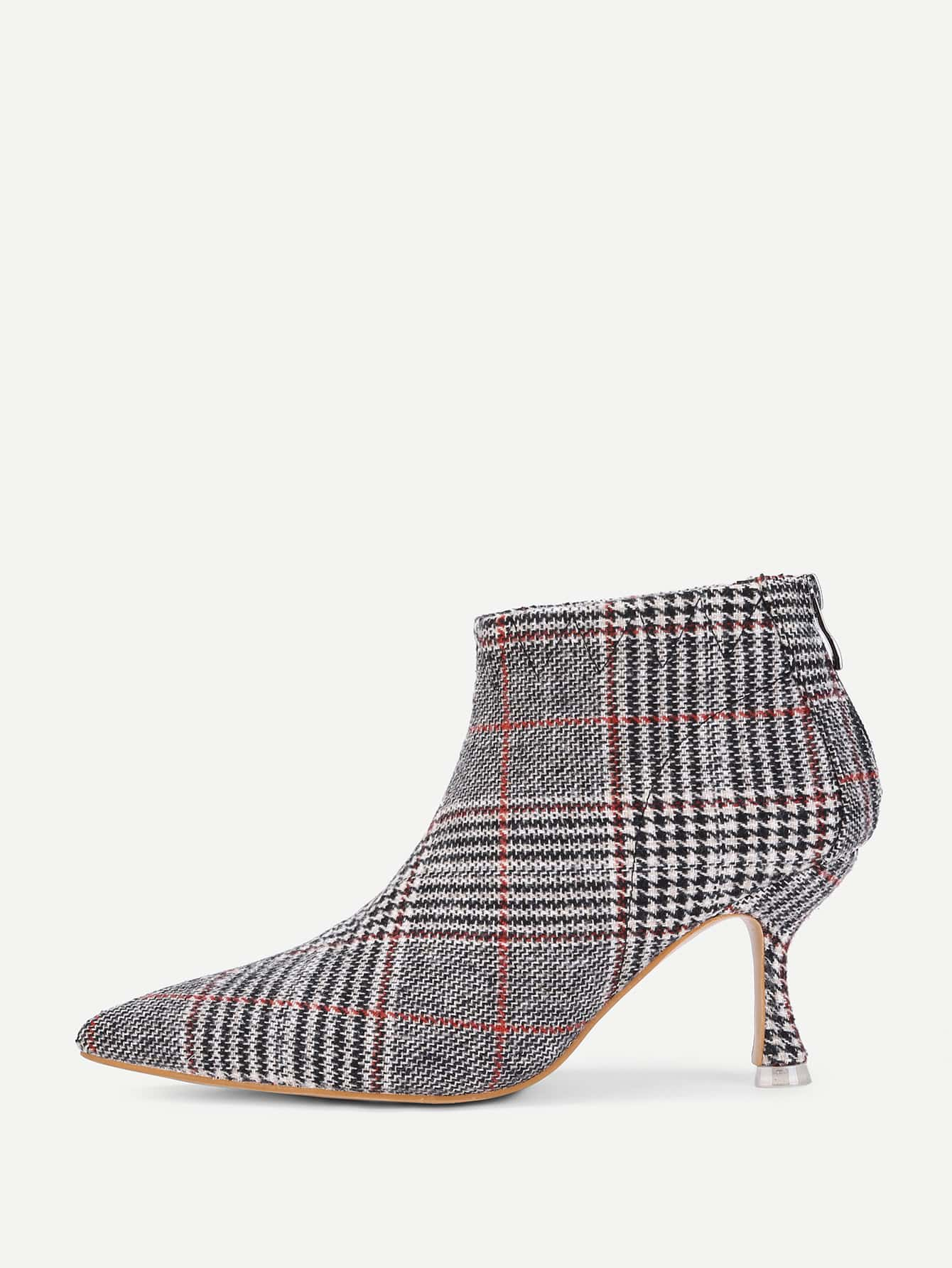 Kitten Heeled Plaid Ankle Boots EmmaCloth-Women Fast ...