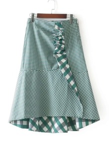Frill Detail Fluted Check Skirt