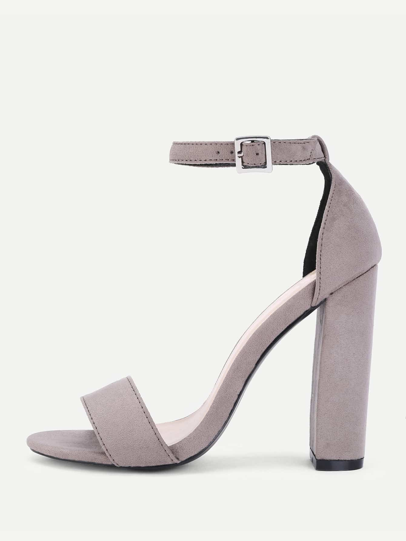 Two Part Ankle Strap Block Heeled Pumps ankle strap block heeled pu sandals