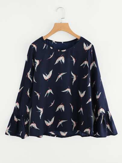 Ruffle Sleeve Red-crowned Crane Print Random Blouse