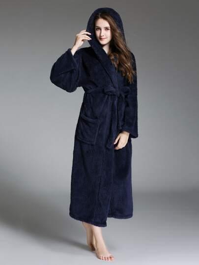Buy Faux Fleece Self Tie Hooded Robe night171027323