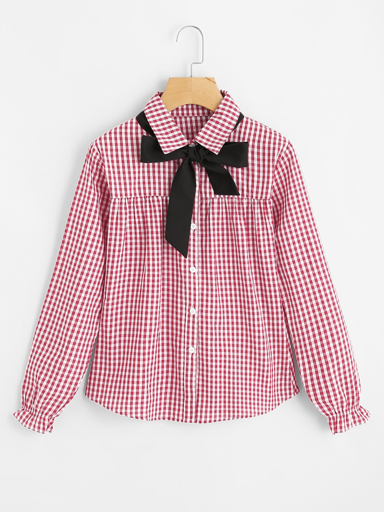 Contrast Bow Tie Gingham Blouse plunged gingham bow tie back romper