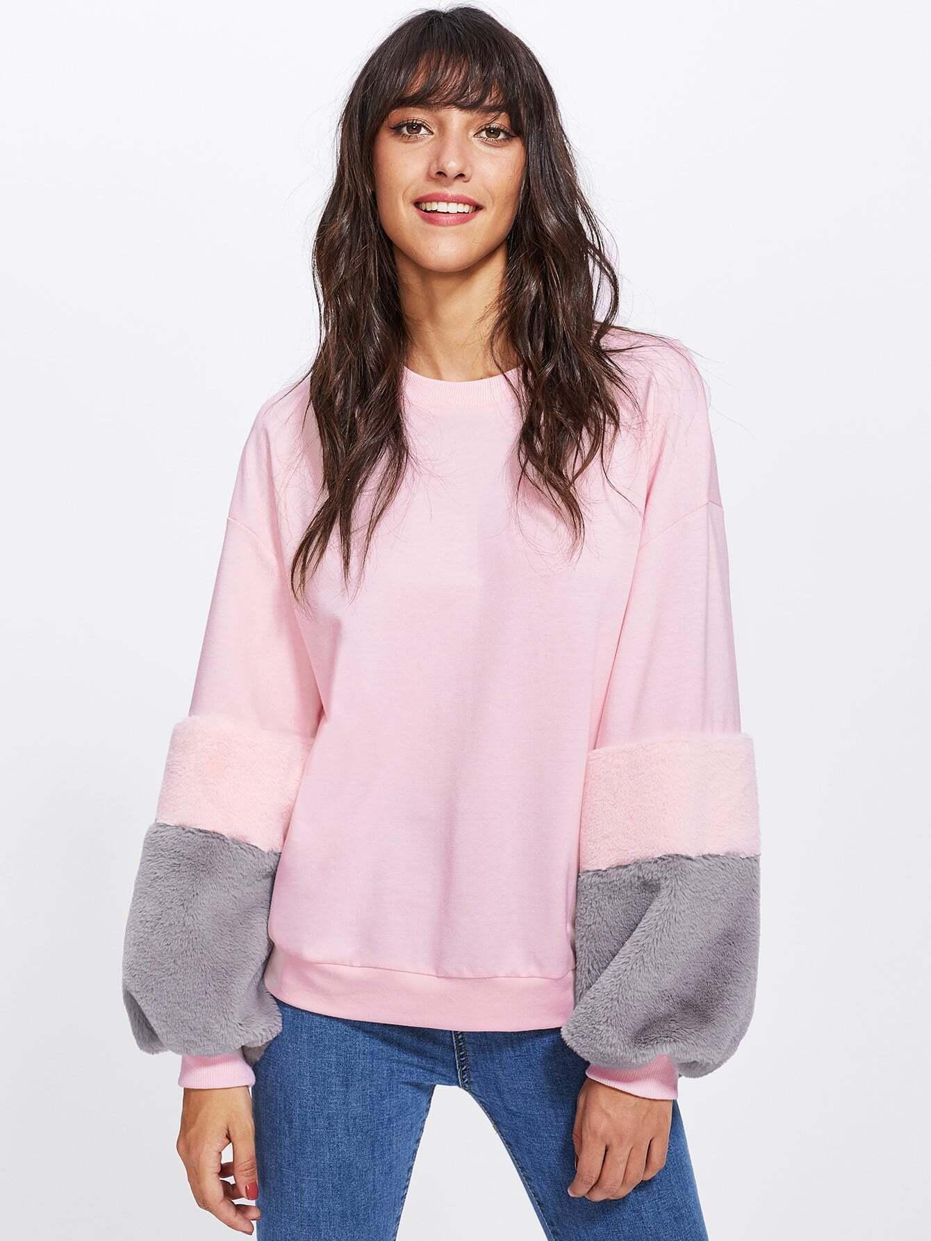 Drop Shoulder Contrast Faux Fur Sleeve Sweatshirt drop shoulder flounce trim sleeve sweatshirt