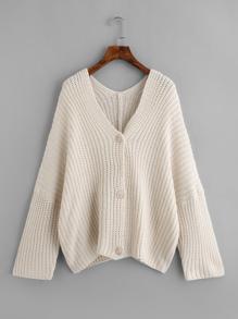 Drop Shoulder Mixed Knit Cardigan