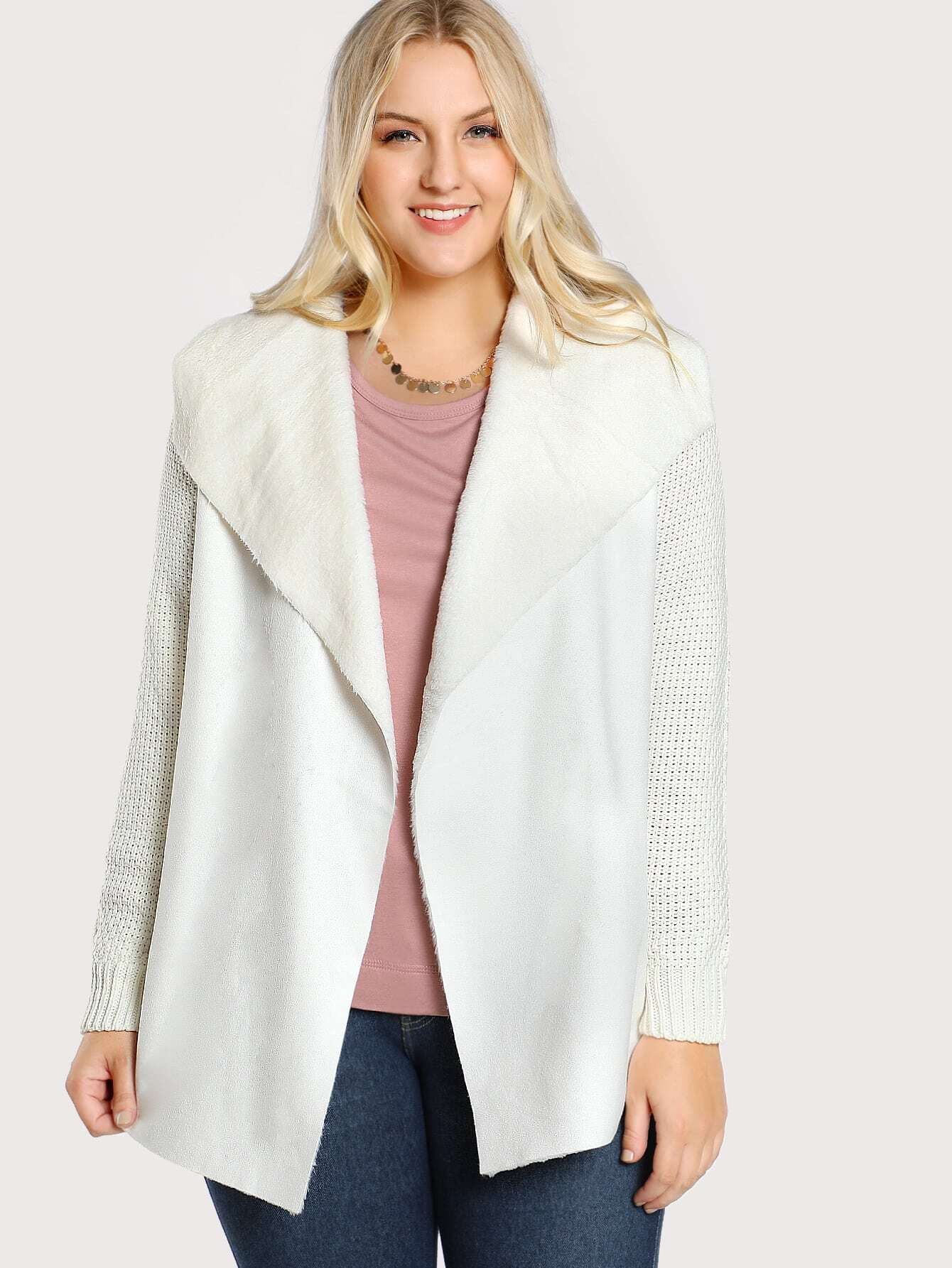 Faux Fur Lined Ribbed Sweater IVORY