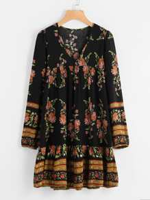 Botanical Print Pep Hem Dress