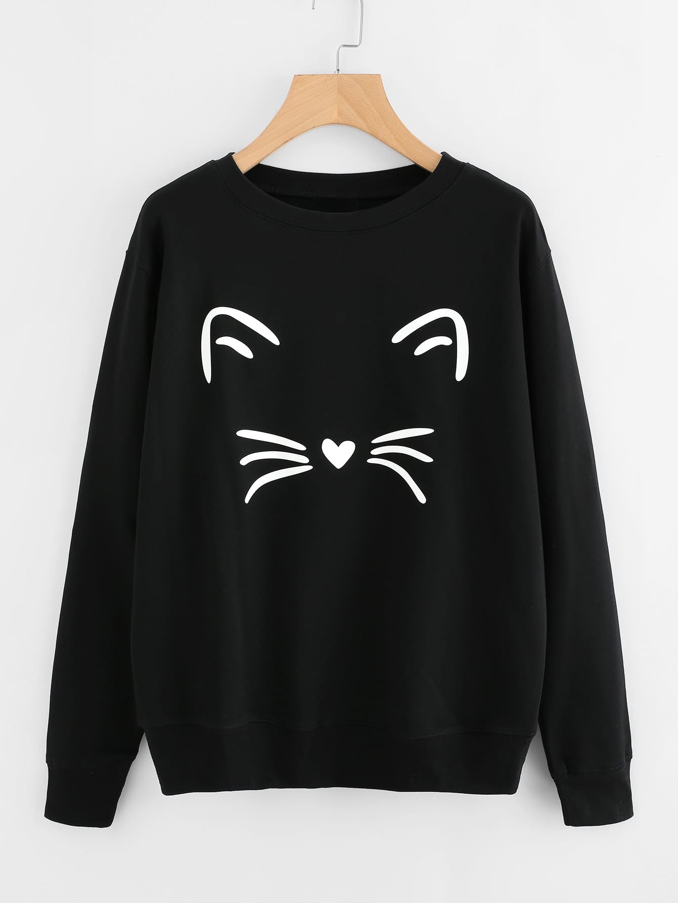 Cat Face Print Sweatshirt