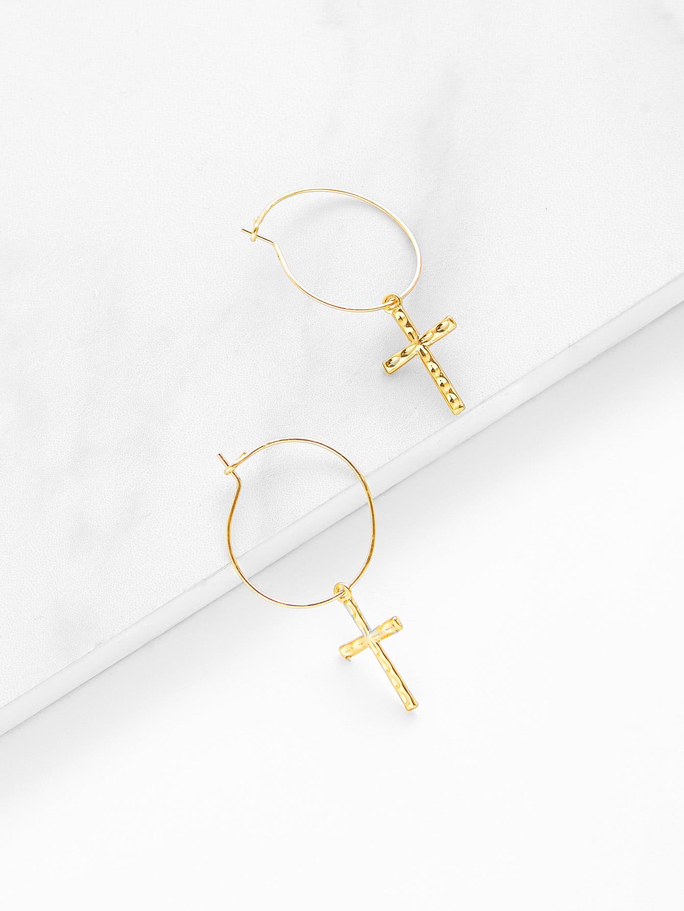 Cross Design Drop Earrings two tone face design drop earrings