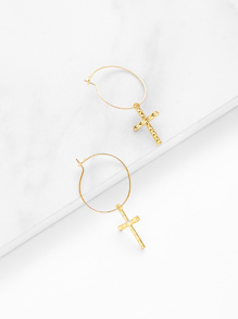 Cross Design Drop Earrings