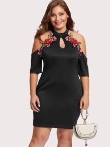 Cold Shoulder Rose Embroidered Applique Dress