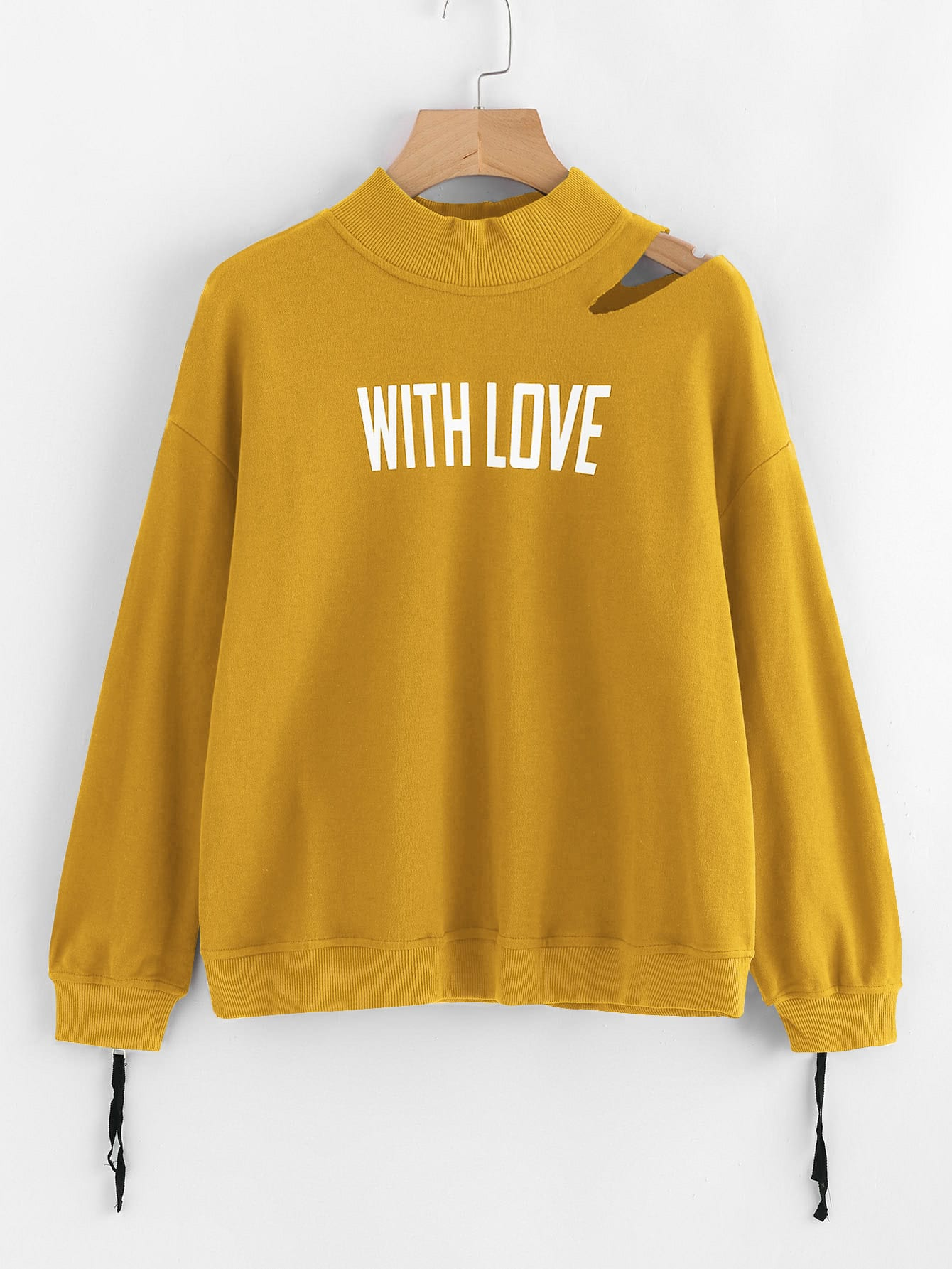 Cutout Shoulder Zip Cuff Graphic Sweatshirt two tone drop shoulder sweatshirt