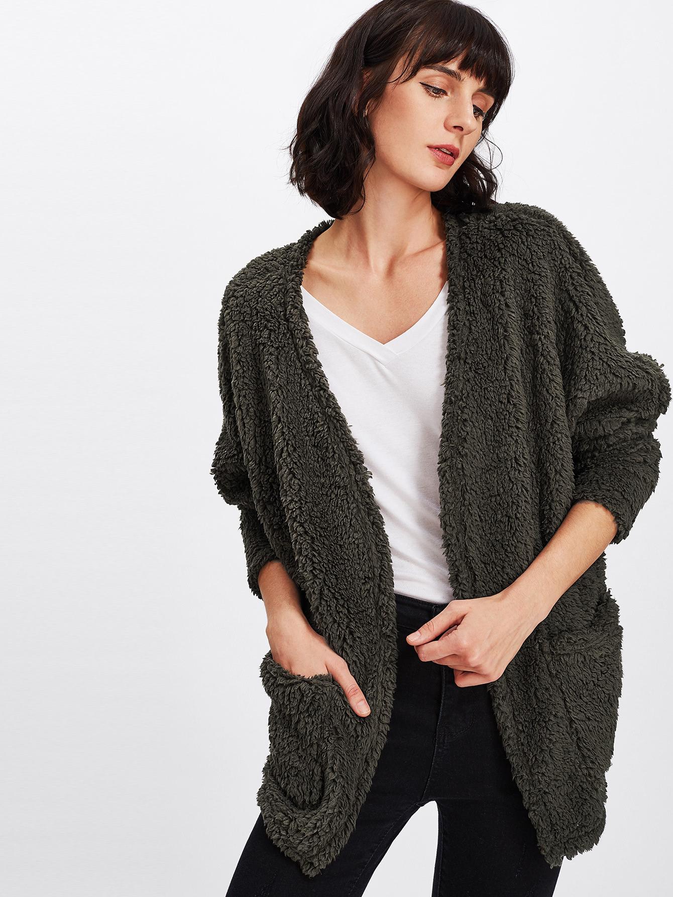 Faux Fur Open Front Coat