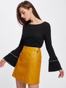 Pearl Detail Layered Bell Sleeve Ribbed Top