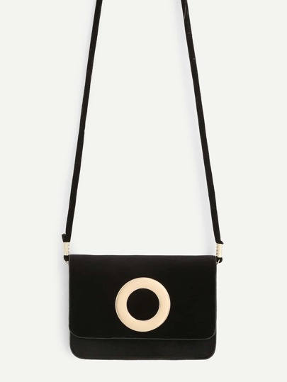 Open Ring Front Flap Crossbody Bag