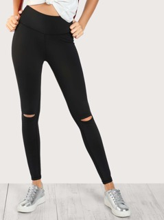 Stretch Slit Knee Leggings BLACK