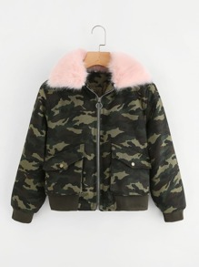 Camo Contrast Faux Fur Coat