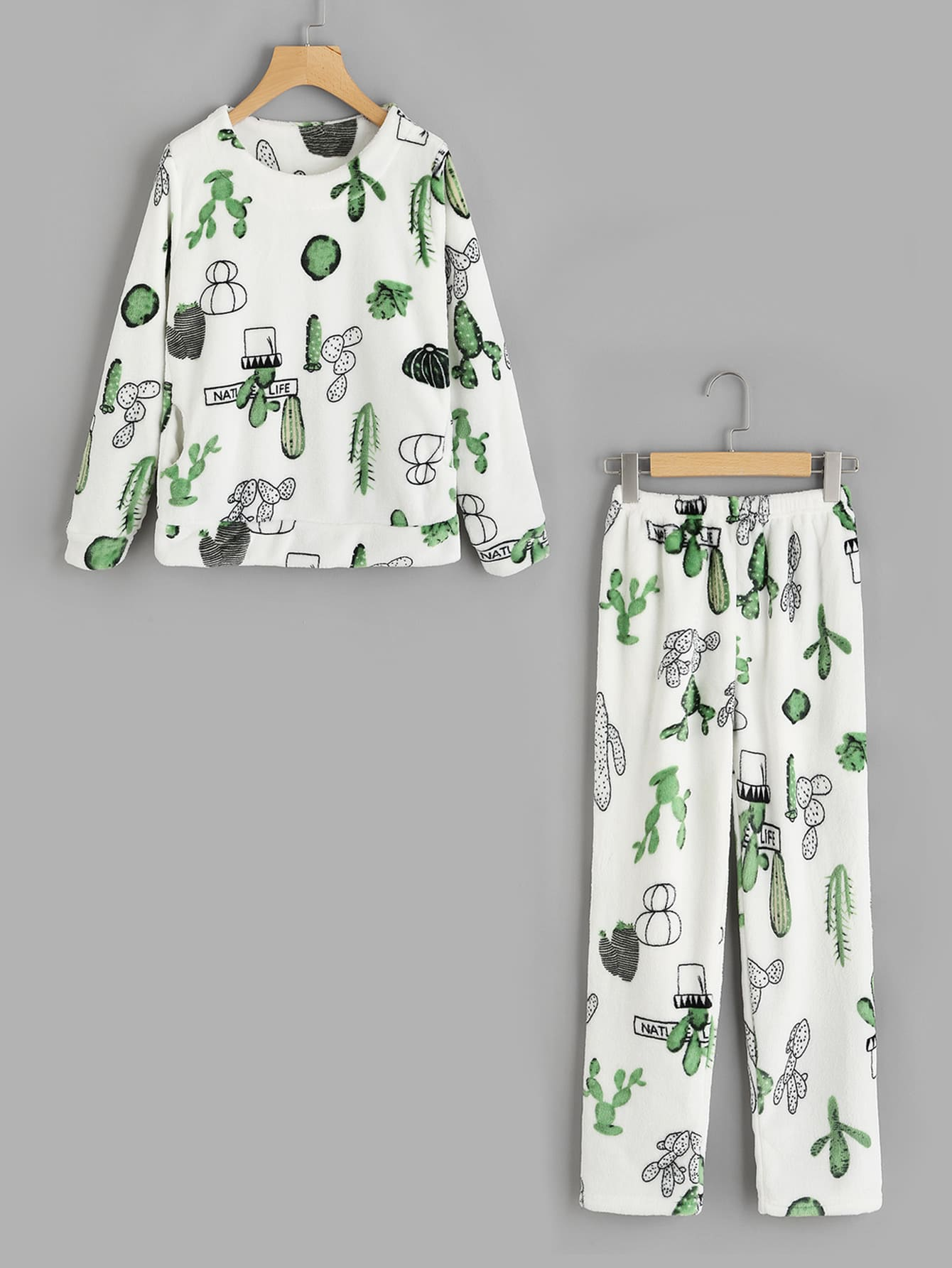 Cactus Print Top And Pants Pajama Set