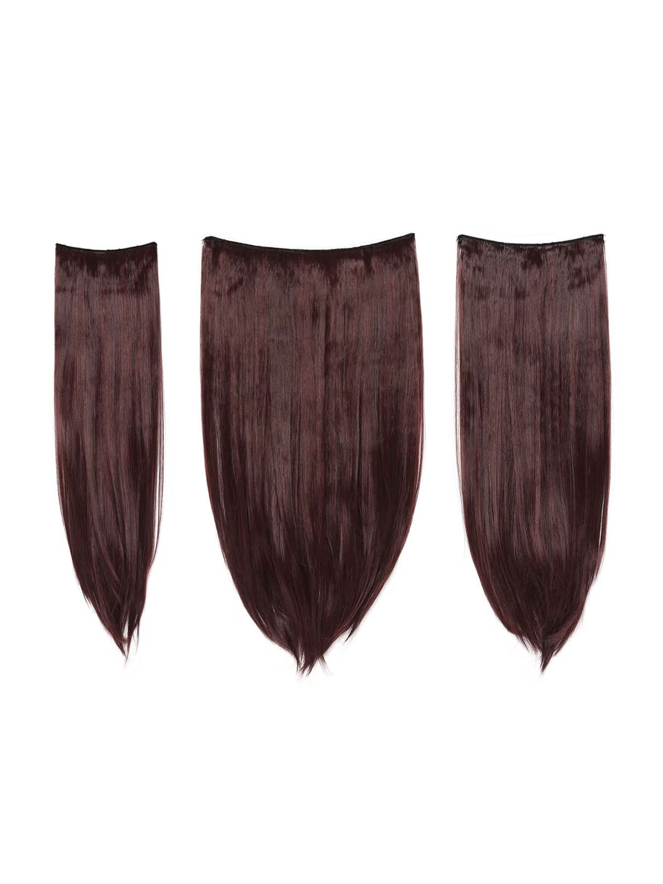 Image of Black & Burgundy Clip In Straight Hair Extension 3pcs