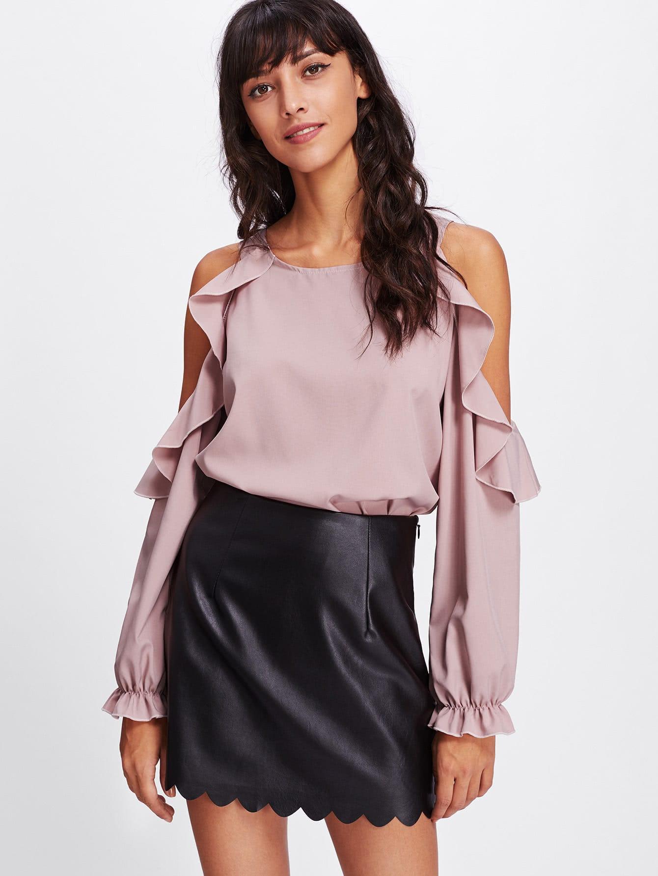 Купить Модная блуза с оборкой и открытыми плечами, Camila, SheIn