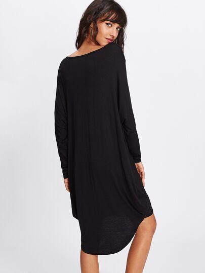 Batwing Sleeve Dip Hem Tee Dress