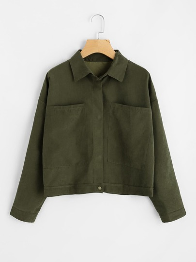 Dual Pocket Drop Shoulder Jacket