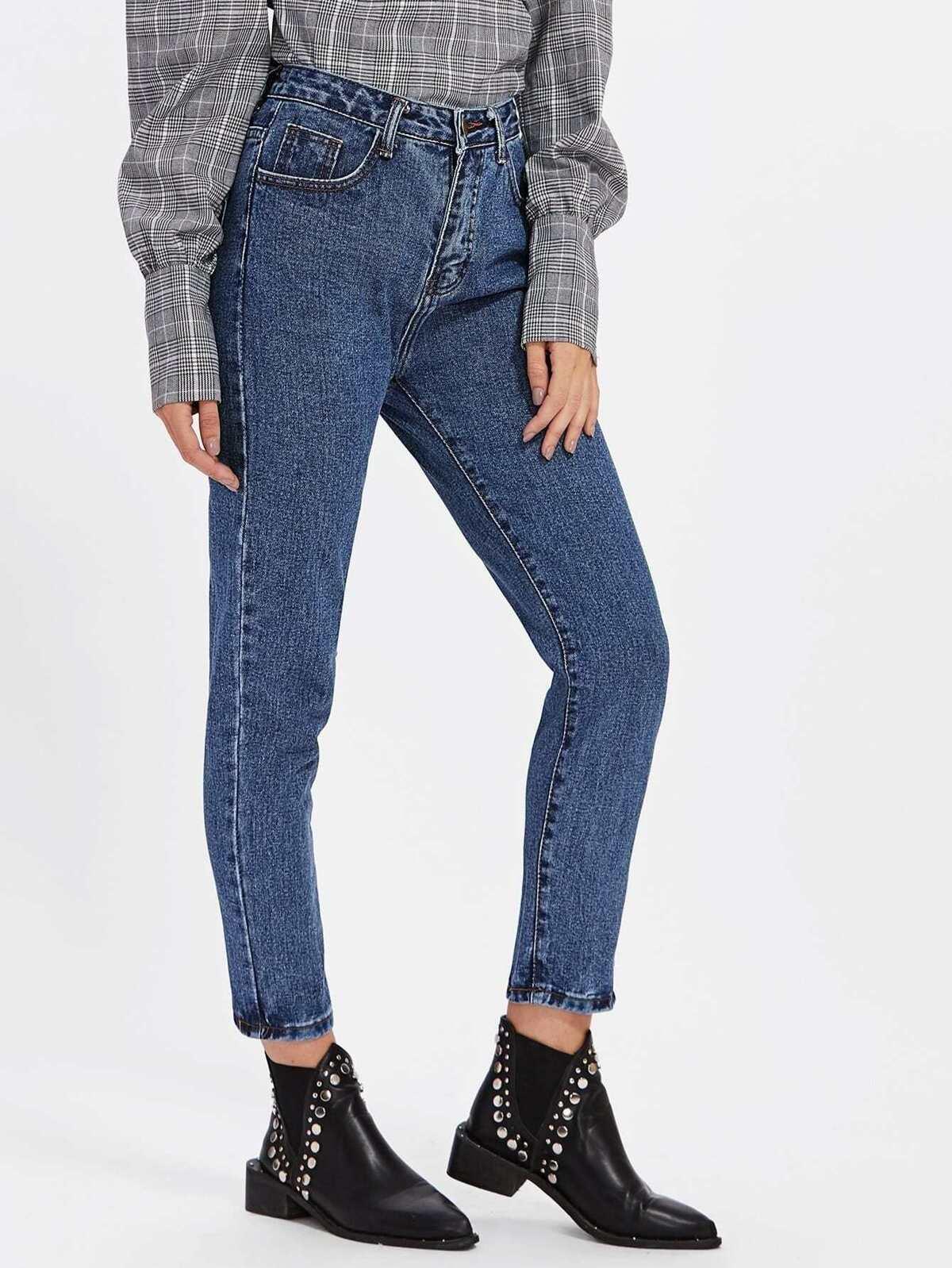Bleach Wash Jeans by Romwe