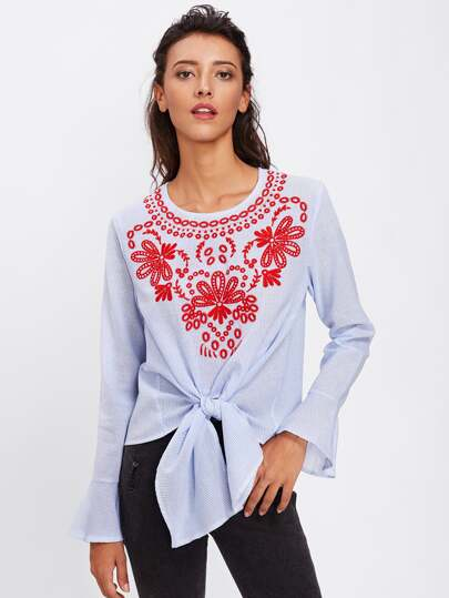 Embroidered Front Knot Front Pinstripe Blouse