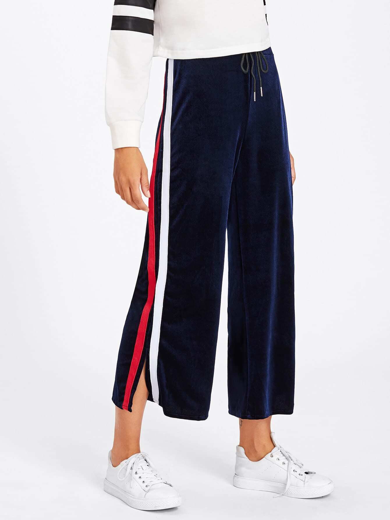Tape Detail Slit Side Velvet Wide Pants