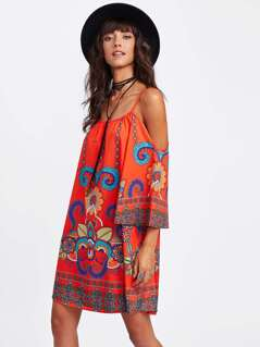 Flower Print Kimono Sleeve Dress
