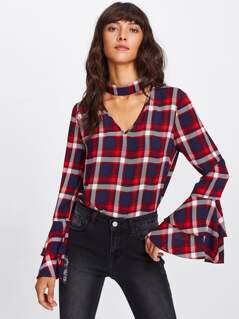 Choker Neck Layered Bell Sleeve Check Top