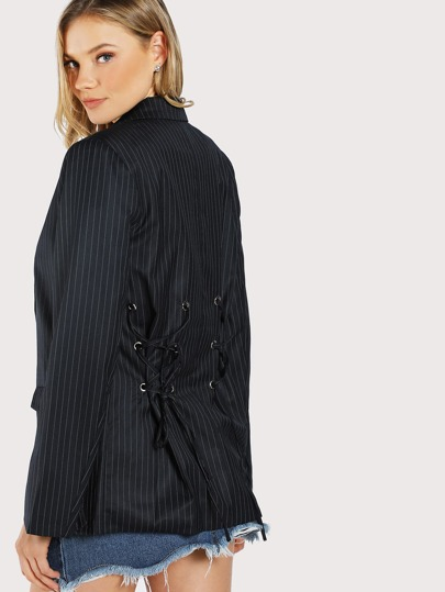 Striped Oversize Lace Up Detail Blazer DARK NAVY