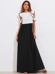 Contrast Binding Ruffle Sleeve Top & Skirt Set