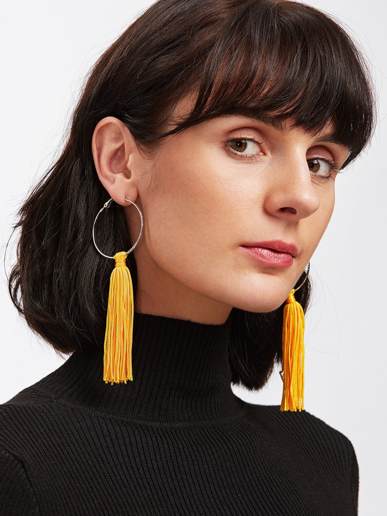Tassel Hoop Drop Earrings silver plated strip tassel drop earrings