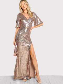 Sequin Slit Deep V Maxi Dress ROSE GOLD