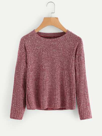 Drop Shoulder Space Dye Sweater