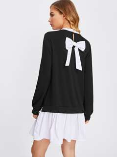 Frill Neck Bow Back 2 In 1 Dress