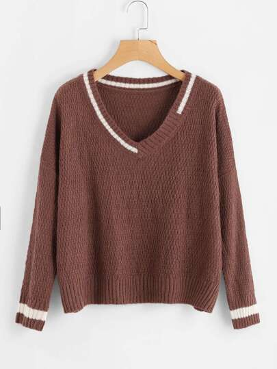 V Neckline Contrast Trim Knit Sweater