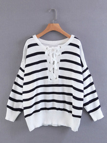 Lace Up Striped Knitwear