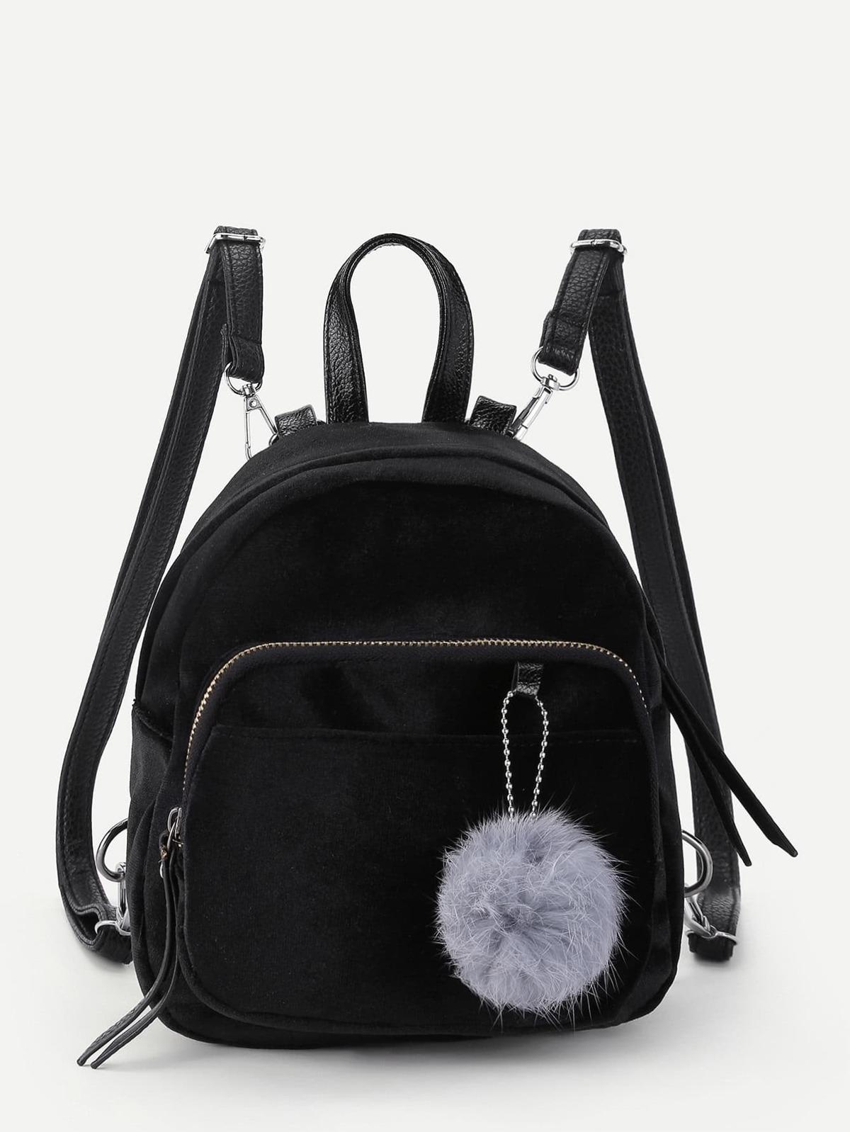 球球 裝飾的 絨面 背包