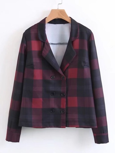 Double Breasted Tailored Plaid Blazer