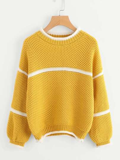 Waffle Knit Lantern Sleeve Striped Sweater