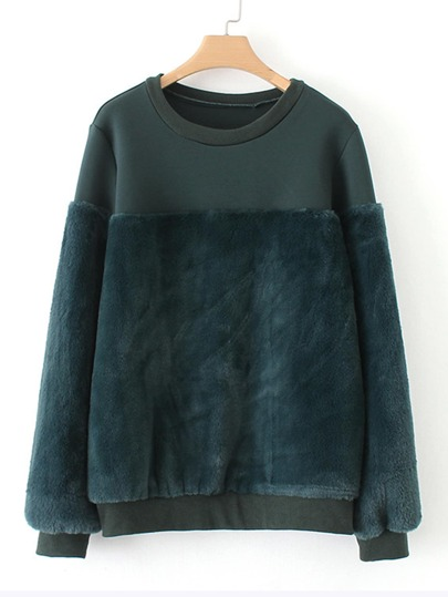 Faux Fur Panel Sweatshirt