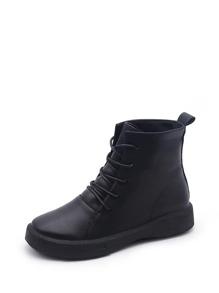 Lace Up PU Flatform Boots