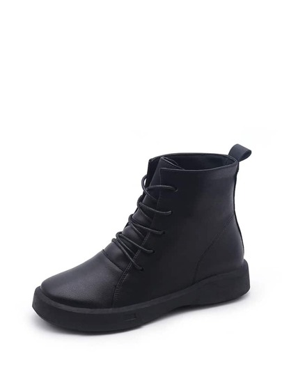 Lace Up PU Flatform Boots