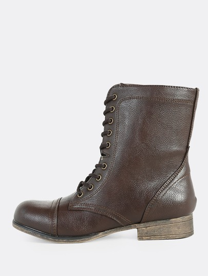 Lace Up Zip Up Combat Boots BROWN