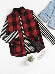 Flap Pocket Front Quilted Checkered Vest