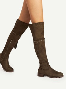 Studded Detail Knee Length Boots