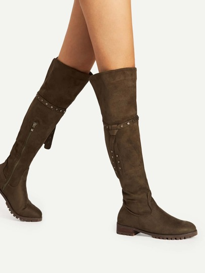 Knee Length Stiefel mit Nieten